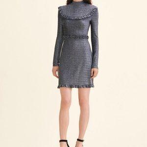 Maje black metallic long sleeve dress